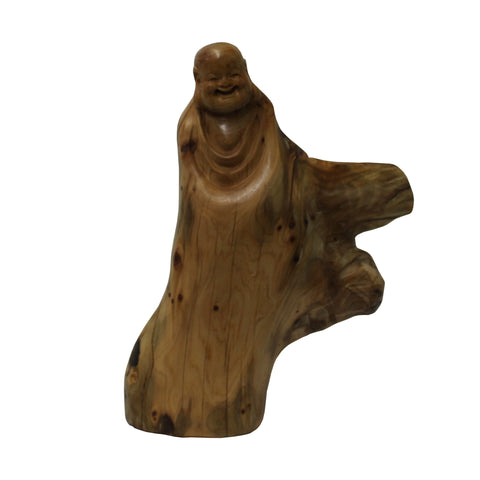 happy buddha - laughing buddha - wood carved Buddha
