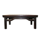 Brown Oriental Round Legs Dragon Rectangular Display Table Stand cs5577S