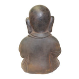 Rustic Iron Color Finish Sitting Lohon Monk Namaste Posture Statue cs5582S