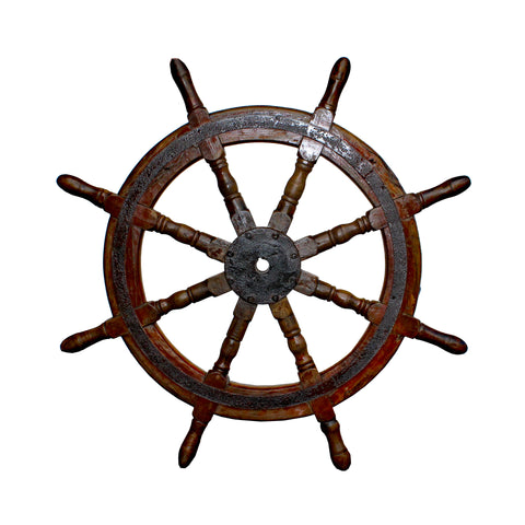 steering wheel - ship wheel wall art - vintage boat helm