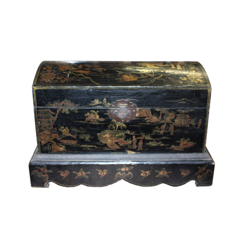 black lacquer box  - oriental golden graphic  - chest trunk box