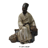 Chinese Oriental Ceramic Vintage Finish Ancient Scholar Old Man Figure cs5609S