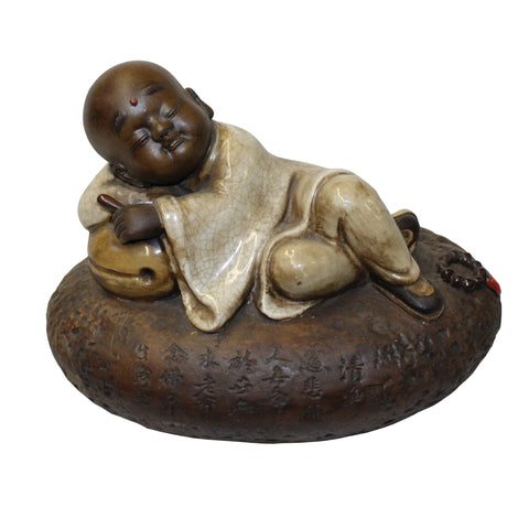 chinese monk - Small Lohon  - Ceramic Zen Buddha