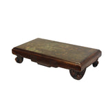 Oriental Brown Wood Stone Top Rectangular Table Stand Display Easel cs5618S