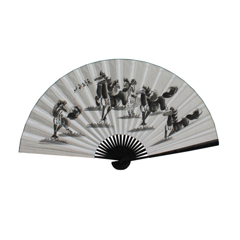 fan shape - black in horses - Wall art