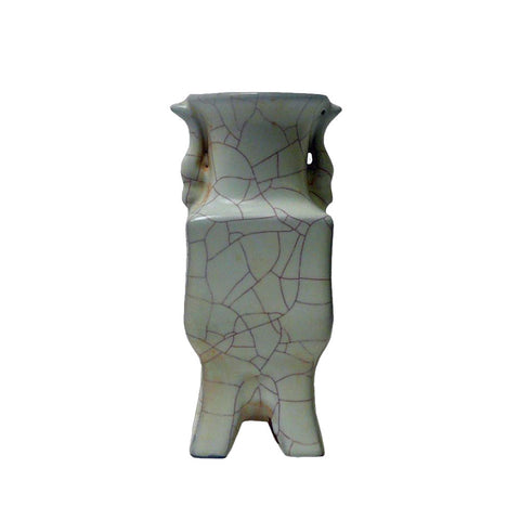Chinese Light Green Celadon Crackle Ceramic Vase