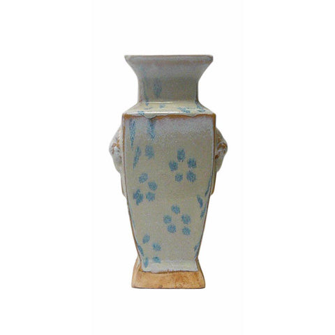 Chinese Rustic Light Blue Glaze Ceramic Vase