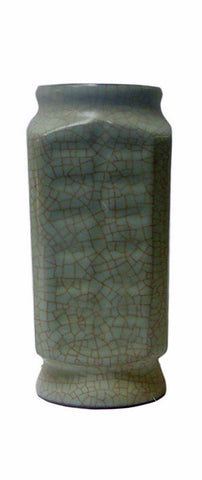 Chinese Light Green Celadon Crackle Ceramic Vase cs567-17S