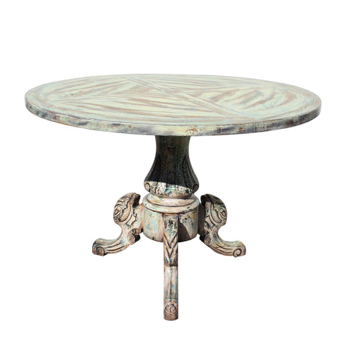 Distressed Mixed Color Tri-Legs Base Round Pedestal Table cs5677E
