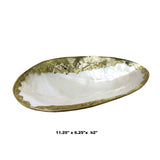 Asian Mother of Pearl Golden Color Pewter Rim Table Top Display Tray cs5690S