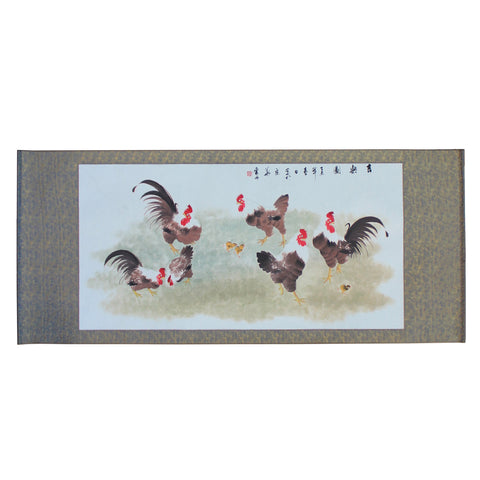 scroll painting -oriental rooster - ink painting