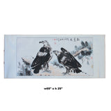 Chinese Black Ink Eagles Horizontal Scroll Painting Wall Art cs5707S