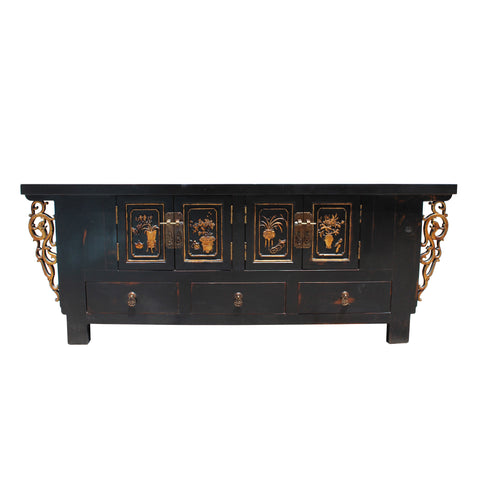 TV console - brown lacquer - carving cabinet