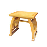 Oriental Light Brown Wood Curve Legs Rectangular Stool Table cs5729S