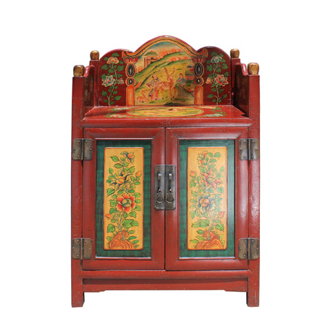 Tibetan cabinet - Orange graphic - side table
