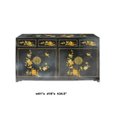 Chinese Black Vinyl Color Flower Birds Cabinet Sideboard cs5738S