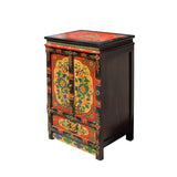 Black Orange Yellow Tibetan Floral End Table Nightstand Cabinet cs5753S