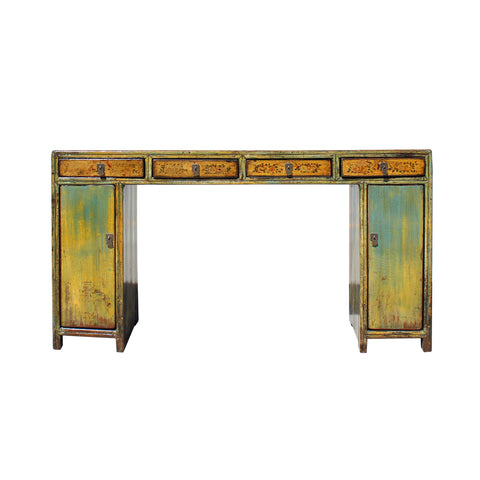 Chinese Distressed Blue Mustard Yellow 4 Drawers Console Altar Table cs5759S