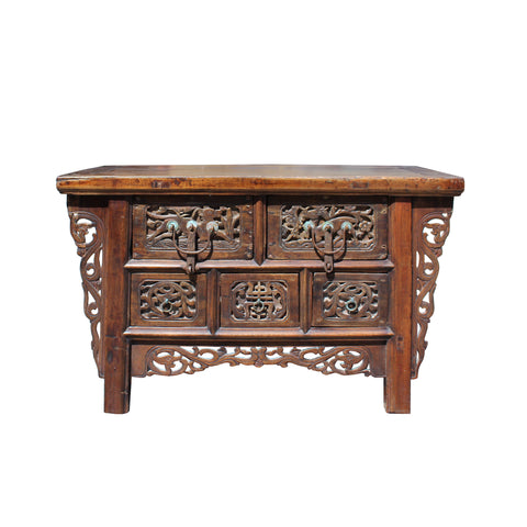 Chinese Vintage Rustic Carving Low Kang Table Display Stand cs5762S