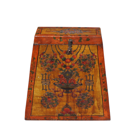 Chinese Tibetan Red Orange Yellow Floral Graphic Trunk Box Table cs5764S