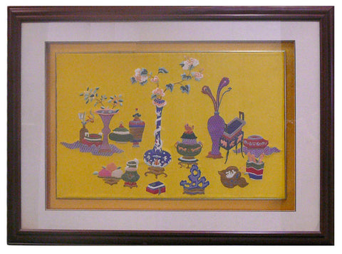 embroidery vase in framed art