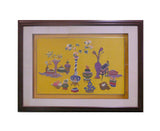 yellow color embroidery painting