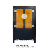 Chinese Black Orange Yellow Graphic  Armoire Wardrobe Cabinet cs5775