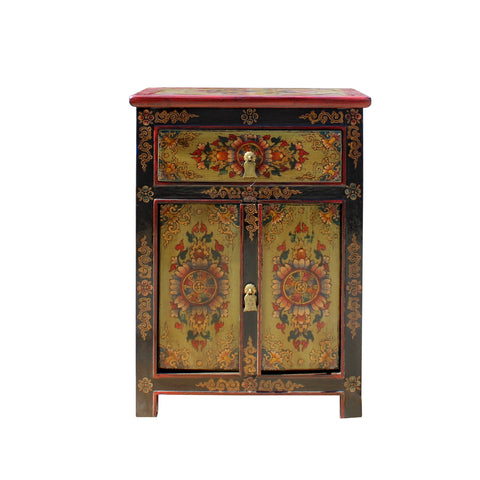 Tibetan stool - floral graphic - side table