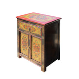 Black Lime Olive Green Tibetan Style Floral End Table Nightstand cs5779S