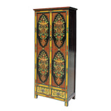 Chinese Tibetan 8 Auspicious Treasure Graphic Tall Slim Cabinet cs5783S