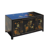 Chinese Black Color Vinyl Flower Birds Low TV Cabinet Table cs5785S