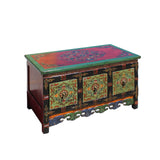 Chinese Tibetan Distressed Red Green Pigment Drawers Coffee Table cs5790S