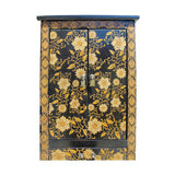 Chinese Black Golden Flower Graphic Tall Slim Multi Drawers Cabinet cs5791S