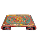 Chinese Tibetan Red Turquoise Dragon Head Lacquer Scroll Coffee Table cs5796S