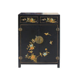 shoes cabinet - black vinyl - oriental birds