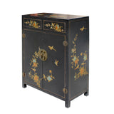Chinese Black Color Flowers & Birds Veneer Leather Side Table Shoes Cabinet cs5798S