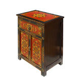 Black Red Yellow Tibetan Style Floral Pattern End Table Nightstand cs5801S