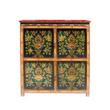 Chinese Tibetan Treasure Color Flower Graphic Credenza Storage Cabinet cs5804S