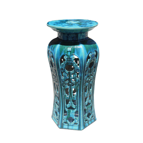 pedestal table - round clay table - turquoise blue green table