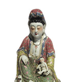 Chinese Fujian Style Multi Color Porcelain Kwan Yin with Kid Statue cs583s