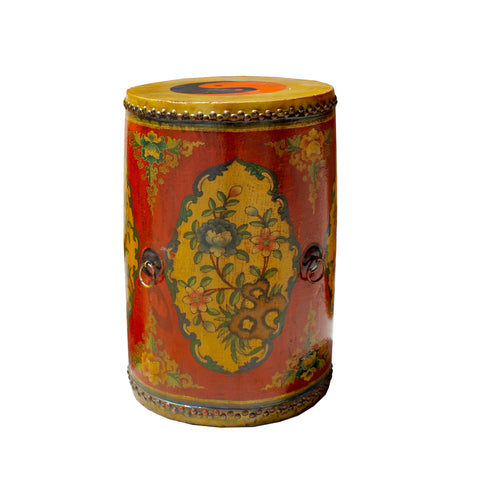 Tibetan drum - floral graphic - side table