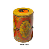 Distressed Chinese Tibetan Drum Shape Red Floral Side Table cs5843S