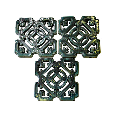 clay tile - oriental green tile - square garden tile