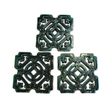 Lot of 3 Chinese Ru-Yi Coin Dark Green Blue Mix Glaze Clay Tiles cs5851S