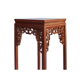 Chinese Light Brown Stain Square Ru Yi Plant Stand Pedestal Table cs5852S