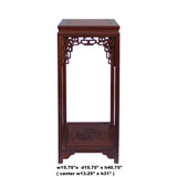 Chinese Light Brown Stain Square Ru Yi Plant Stand Pedestal Table cs5854S