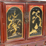 Chinese Vintage Fujian Golden Carving Low Table Cabinet cs5860S