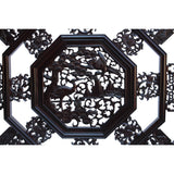 Chinese Brown Octagonal Cranes Flower Geometric Pattern Wall Panel cs5877S