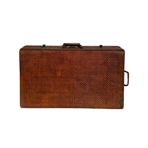 Asian Vintage Brown Stain Rattan Wood Luggage Truck Box cs5882S