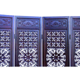 Chinese Brown Stain Geometric Flower Pattern Wood Panel Floor Screen cs5894S
